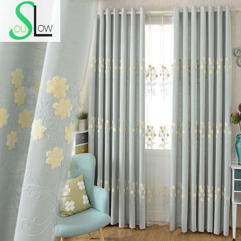 rideau brode motif floral pour enfants gris bleu slow soul moderne serviette simple tulle pour salon cuisine chambre bebe