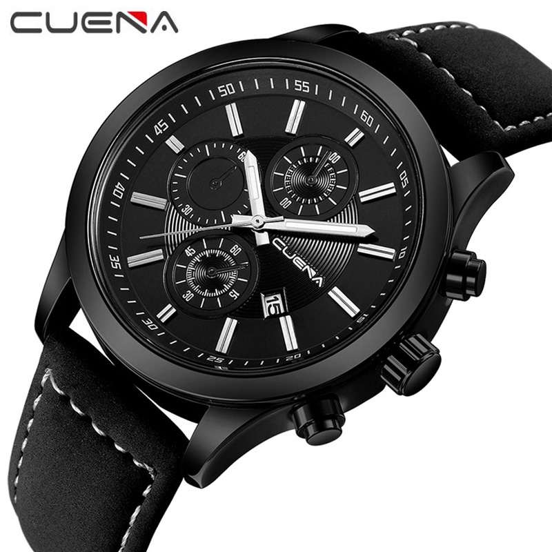 CUENA Brand Fashion Male Watches Waterproof Leather Mens Quartz Watch Casual Calendar Wristwatches Relogio Masculino 6637