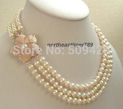 Femmes cadeau mot amour femmes mode bijoux livraison gratuite>>>> 3 rangées véritable blanc perle rose coquille fleur fermoir collier