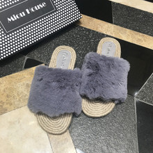 2017 Lady Actual Wool Fur Slides Comfortable Furry Slipper Girls Flat Weave Heel Hemp Rope Platform Sandals Slipony Slip On Flip Flops