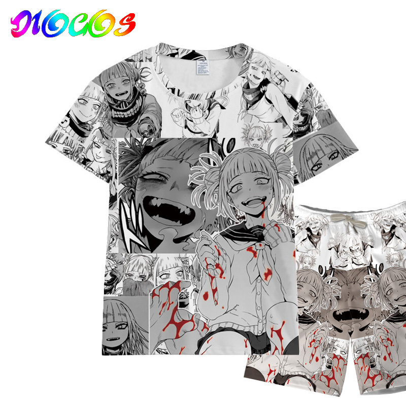 Tops Short-Sleeve T-Shirt Academia Cosplay Boku Anime Himiko Toga No-My-Hero Women Tees