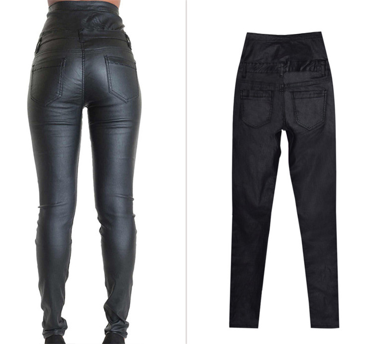 Stretch jeans stretch jeans for women\`s wear ultra high waist strap decorative coating leather stretch jeans PU large size (5)