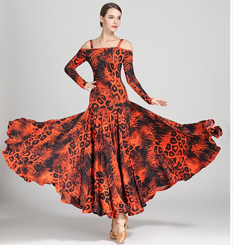 black print ballroom waltz dress rumba Standard social dress Ballroom dance competition dress fringe modern dance dress9043