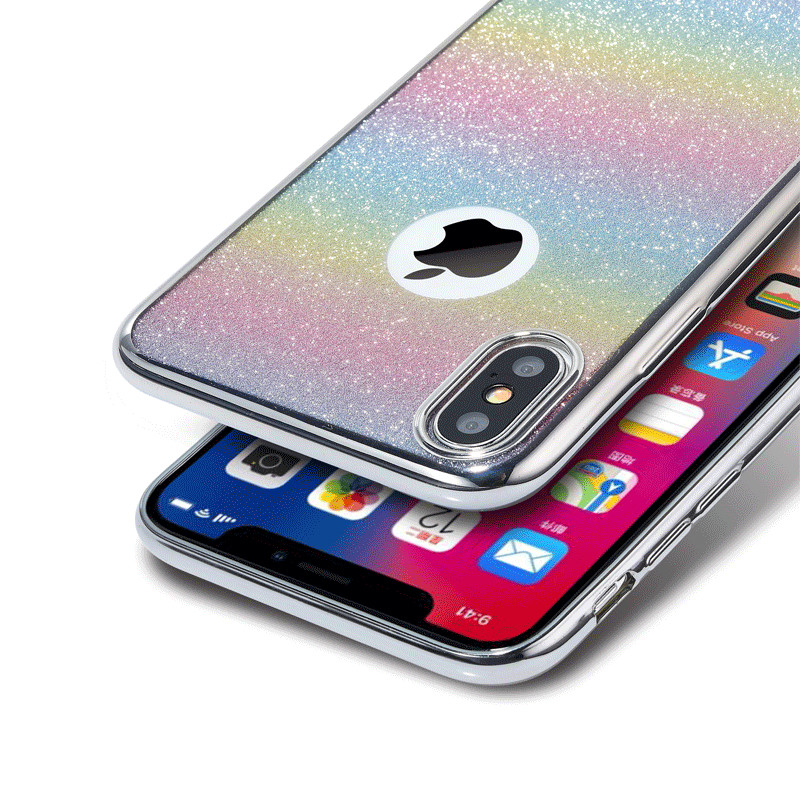 Luxury Rainbow Glitter Case for Iphone 8 7 Plus X Soft Shining Silicone Cover for Iphone X 6S 8plus 7plus Plating TPU Cases Capa