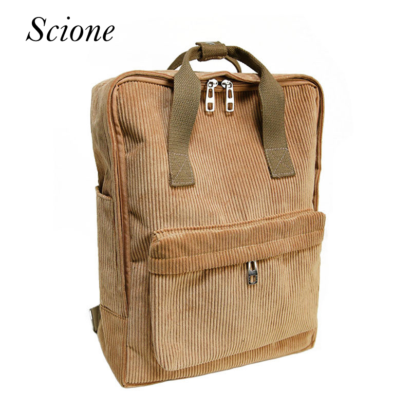 Fashion Women Brand Corduroy Backpack School Bags For Teenage Girls Casual Hot Laptop Travel Shoulder Bag Mochila Rucksack Li749 corduroy goes to school