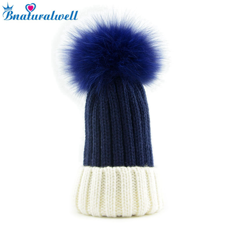 Bnaturalwell Baby Kids Winter Fox Fur Hat Girls Boys cap with Fox Fur pompom Ball Child Beanie Cap Crochet Knitted beanies H009D new star spring cotton baby hat for 6 months 2 years with fluffy raccoon fox fur pom poms touca kids caps for boys and girls