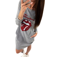 Kawaii Letter Lips Printed Dress 2017 Women Autumn Casual Dress Long Sleeve Vestido De Festa Winter