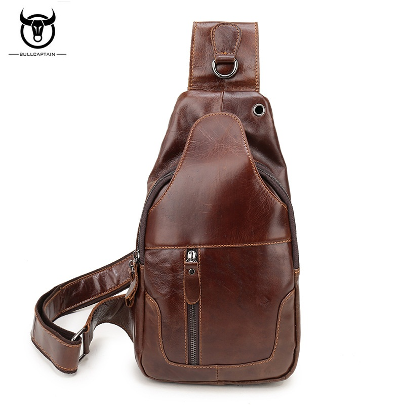 BULLCAPTAIN Genuine Leather Men Chest Pack Single Shoulder Bags Retro Leisure Cowhide Man Chest Bag Travel Crossbody Bags men s bags chest pack casual single shoulder back strap male bag split leather high capacity chest bag crossbody leather