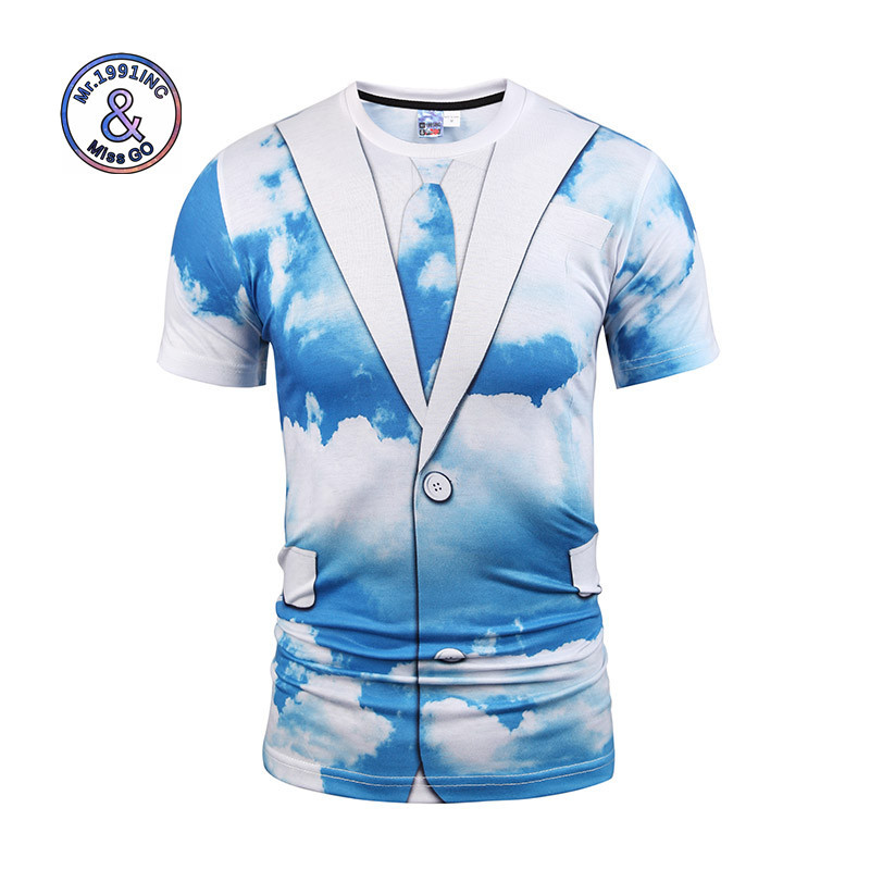 Mr.1991INC Hot Sell T-shirt Sunny Sky Blue Clouds Fake Two Piece Print Fitness Tee Shirt Men/Women Cartoon T Shirt Summer Tops