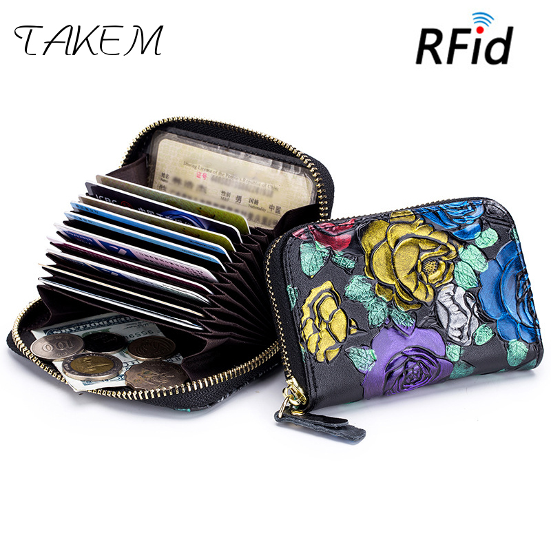 TAKEM 2018 Genuine Leather Man Women Card Holder Business Wallet Bank Credit Card Case ID Holders Female Cardholder Porte Carte smiley sunshine fashion business id credit card holder women bank card case cardholder female slim wallet for cards porte carte