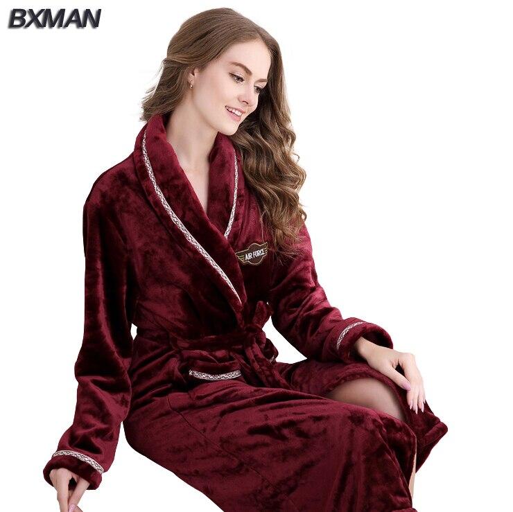 4e8091f43af3 BXMAN Brand Women Bathrobe Thicken Solid V Neck Flannel Bathrobes Casual  Long Bathrobes Women Sleepwear Robes 234-in Robes from Women's Clothing &  ...