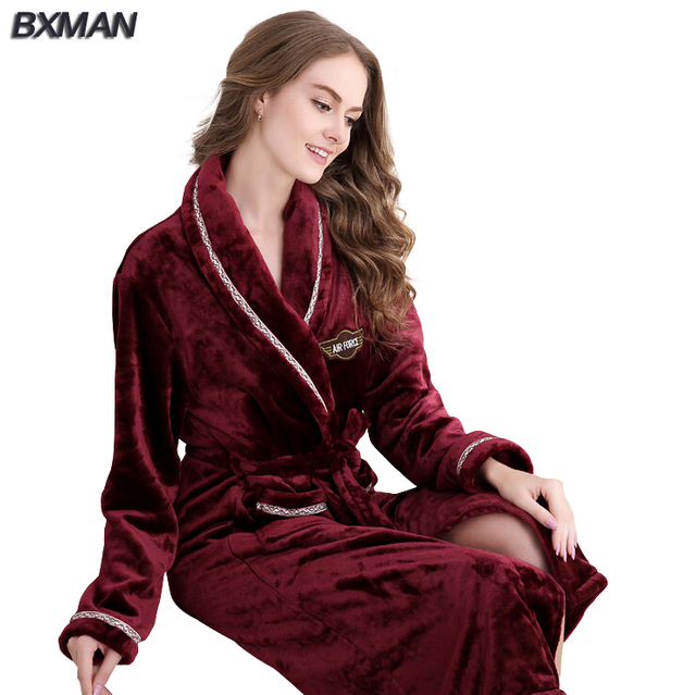 BXMAN Brand Women Bathrobe Thicken Solid V-Neck Flannel Bathrobes Casual Long Bathrobes Women Sleepwear Robes 234