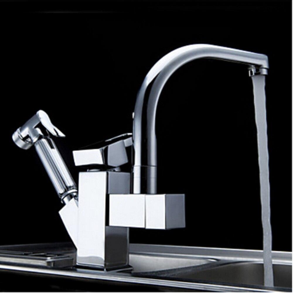 Uythner Chrome Brass Kitchen Faucet Pull Out Sprayer Vessel Bar Sink ...
