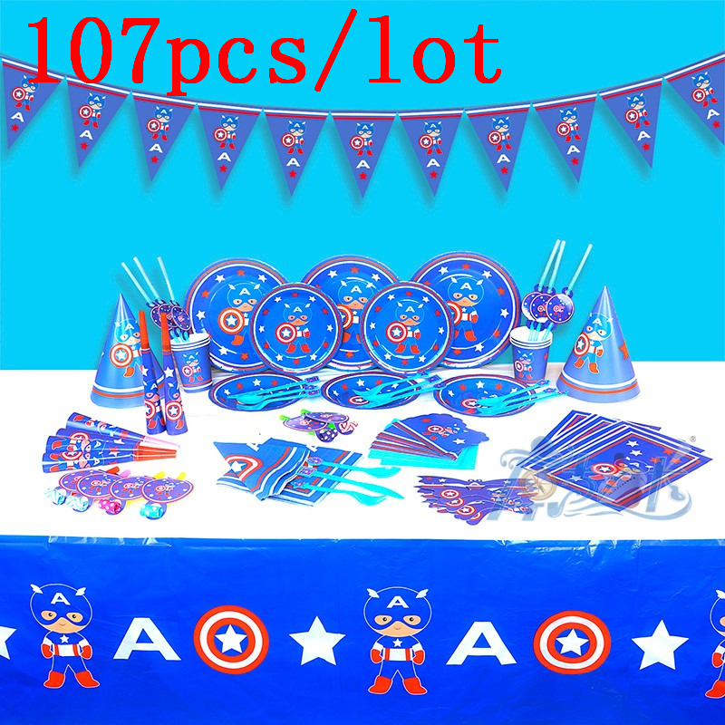 New 107Pcs/lot Captain America Theme Marvel Cup Plate Kid Birthday Party Family Party Mask Gift Bag Trumpet Decoration Supply
