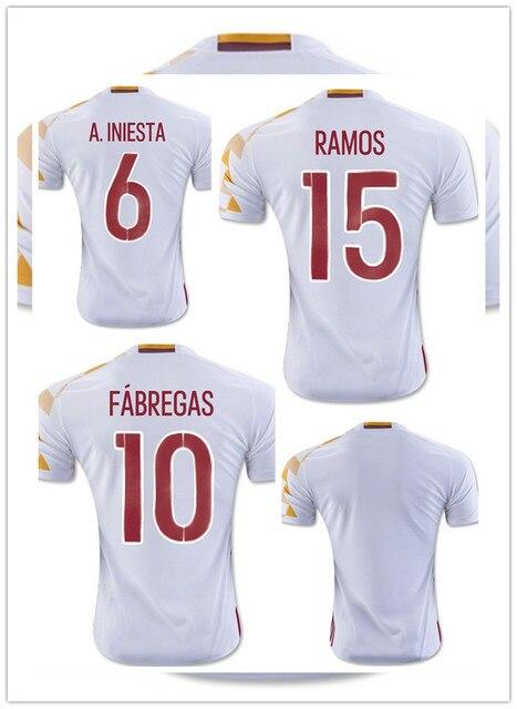 c92bed8b3e INIESTA FABREGAS 2016 Jersey españa camiseta blanca SILVA RAMOS uniforme del