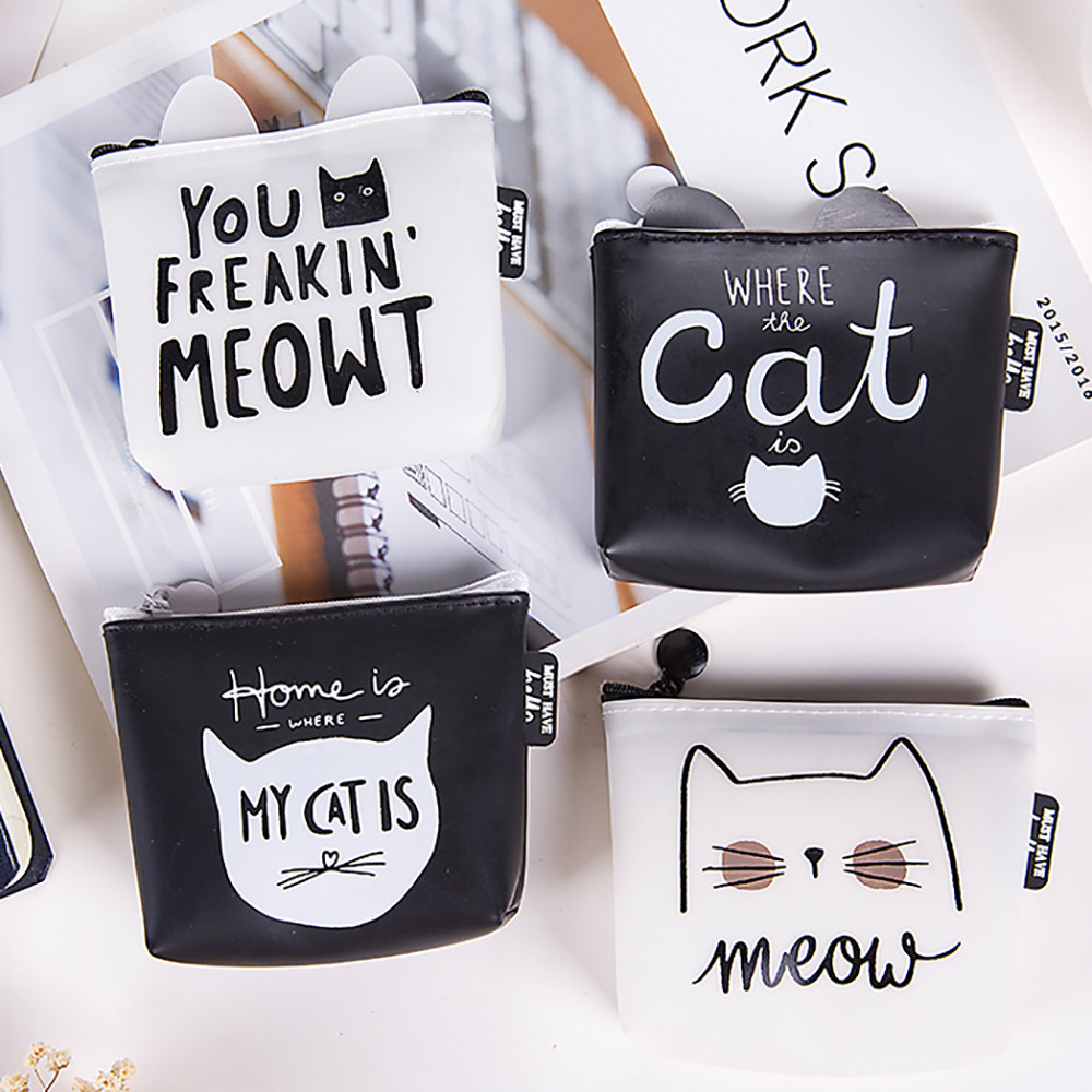Women Silicone Zipper Fashion Coin Purse Lovely Cat Printed Coin Purses Wallet Bag Small Change Pouch Key Holder Bags fashion women coin purses dots design mini girl wallet triple zipper clutch bag card case small lady bags phone pouch purse new