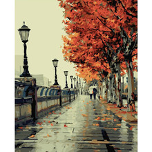 Lluvia calle modern art paintings by number sin marco pintado a mano pinturas al óleo lienzo imagen de la hoja de arce 40×50 cm g117