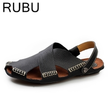 2017 Italian Style Men Sandals Slippers Genuine Leather Outdoor Casual Men'S Summer Shoes Gladiator Sandals For Man /03