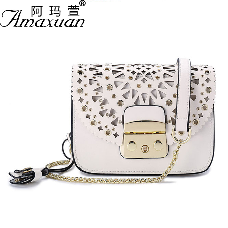 Women's bag 2017 new nail hollow lock buckle square package trend multi-color optional leather handbags small square bag BH1408