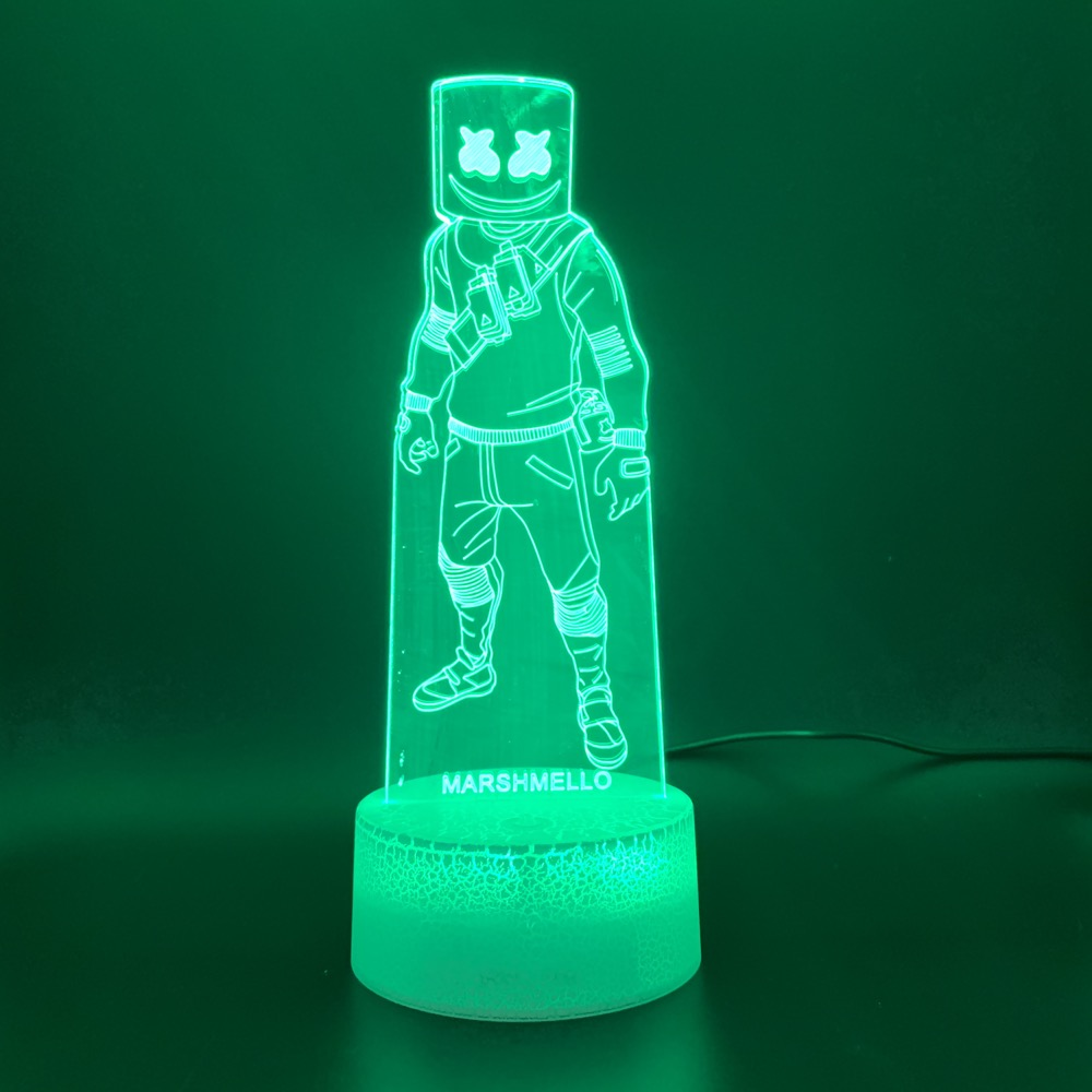 Battle Royale Game Marshmello Skin Figure Led Novelty Night Light For Kid Home Deco Child Game 3D Lamp Marshmallow