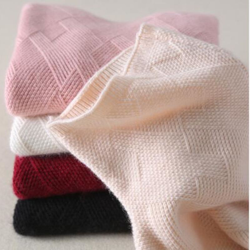BELIARST Cashmere Sweaters for Women 2019 Autumn Winter For Women Pure Cashmere Geometric Knitted Sweater Women