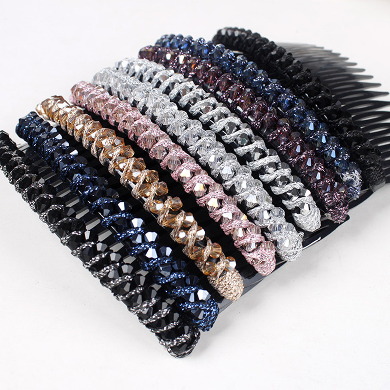 Fashion Women Big Crystal Rhinestone Hair Combs Shining Crystal Beads Hair Barrettes Hair Clips Big Size Hair Pins Headwear