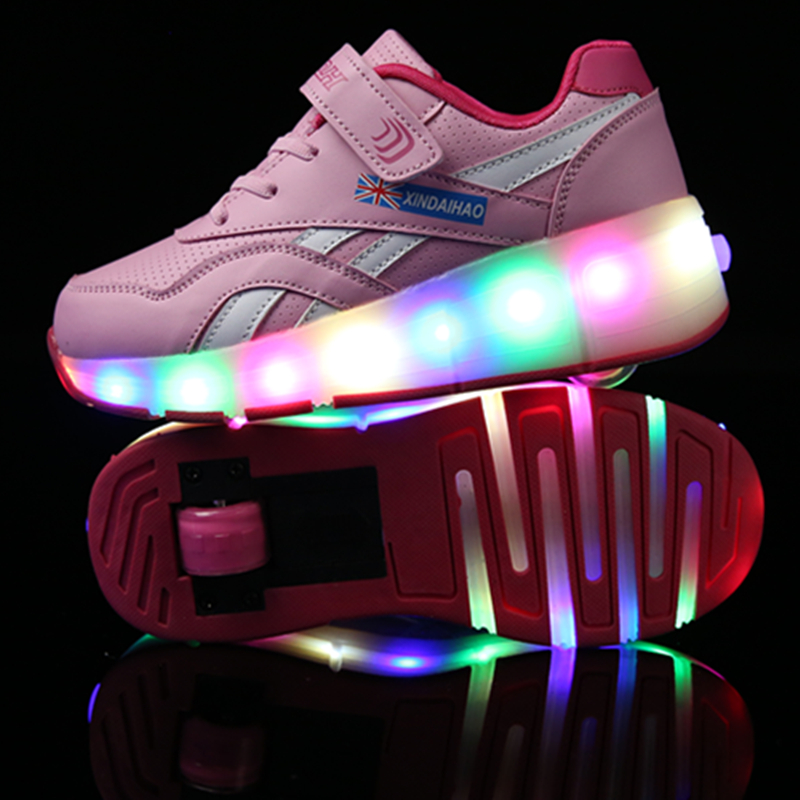 New Pink Black USB Charging Fashion Girls Boys LED Light Roller Skate Shoes For Children Kids Sneakers With Wheels One wheelsNew Pink Black USB Charging Fashion Girls Boys LED Light Roller Skate Shoes For Children Kids Sneakers With Wheels One wheels