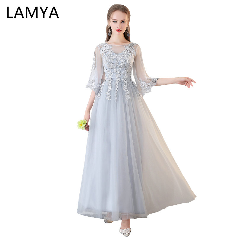 LAMYA 2019 Long Tulle Bridesmaid Dresses Princess Cheap Wedding Party Dress Plus Size A Line Prom Gown Robe De Soiree Real Photo