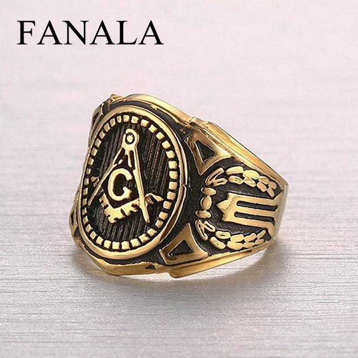 Masonic Stainless Steel Gold Plated Ring Vintage Freemason Symbol Mens Ring