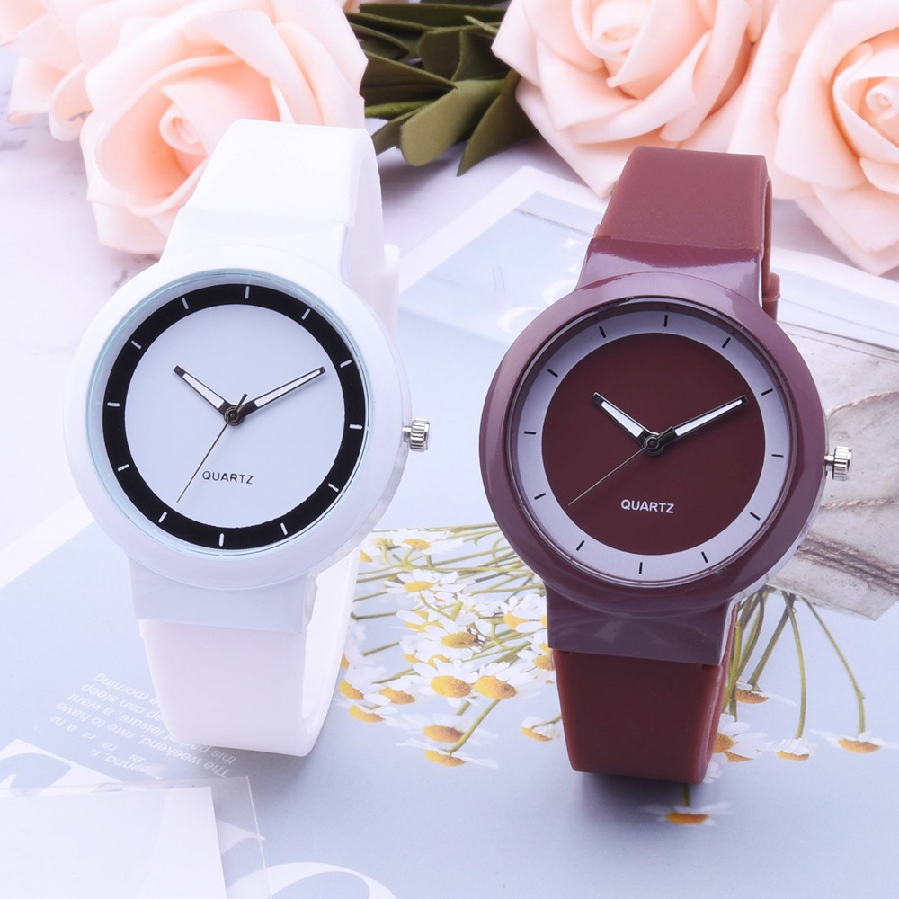Hot Sale Minimalism Fashion Women Watches Round Dial Ladies Quartz Wristwatch Silicone Strap Gift Clock Watch Relogio Feminino#W