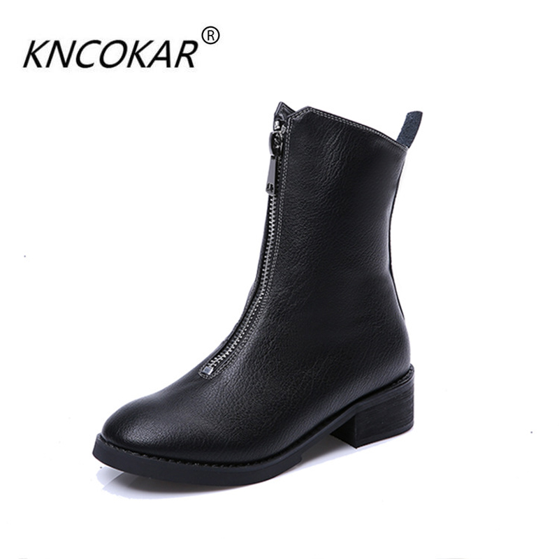 2017 new winter leather boots whom show thin boots  thick with antiskid Martin bootsFashionable and comfortable the new spring and summer ms south korea ensure their boots comfortable show female water thin antiskid tall canister shoe