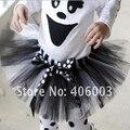 Бесплатный shipping1pc дети хэллоуин черный и белый бальное платье юбка пачки много детские ручной юбки детские