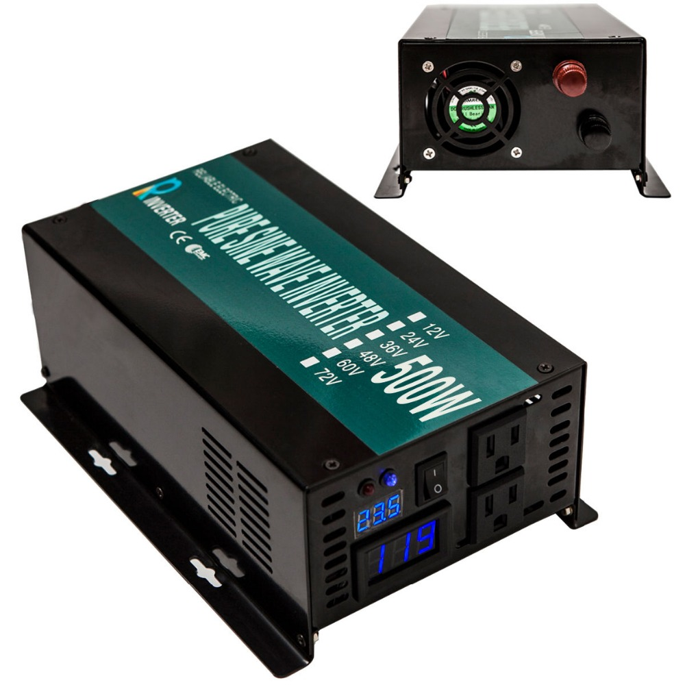 LED Display Off Grid Pure Sine Wave Power Inverter 500W For Home Power Generator 12V/24V/48V To 120V/220V DC to AC Converter 1000w 12vdc to 220vac off grid pure sine wave inverter for home appliances