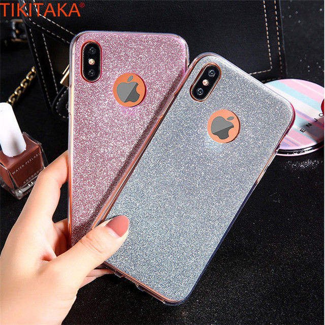 newest 688a8 fc841 US $1.66 |Fashion Cool Bling Glitter Phone Case For iPhone X Mobile Covers  Luxury Shining Powder Case Soft TPU Protective Carcasas For i X-in Fitted  ...