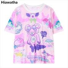 Hiawatha Women Bear Printed T-Shirt Harajuku Style Short Sleeve Summer T Shirts Casual Character O-Neck Tops T1617