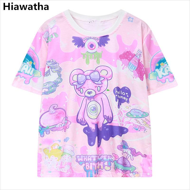 Женская футболка с принтом медведя Hiawatha, летняя повседневная футболка с коротким рукавом и о вырезом, T1617 t-shirt harajuku o-neck topprint t-shirt   АлиЭкспресс