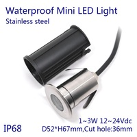 D52xH67mm DC12~24V Dimmable 3W Waterproof Color Changing Glowing Lamp LED Underwater Light for Swimming Pool and Pond