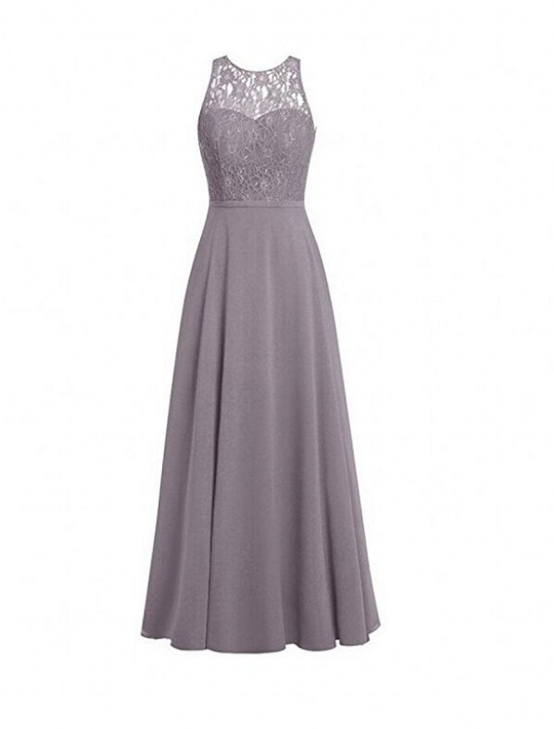 Vestido Madrinha Grey Lavender Long   Bridesmaid     Dresses   Lace Bodice Chiffon Wedding Party   Dresses   O-Neck with Hollow Back Custom