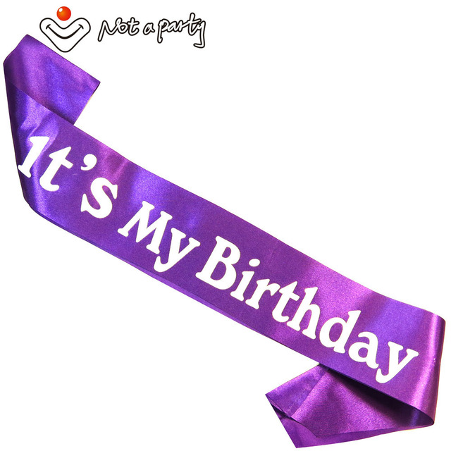 Purple ribbon birthday girl sash fun adult ceremony gift birthday