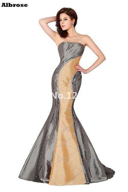 Luxury Beading Elegant Sexy Mermaid Evening Dress 2017 Sequined Strapless Evening Party Dresses Long Beautiful robe de soiree