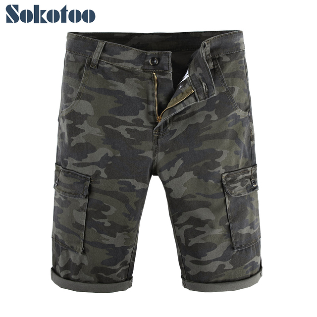 d0b4ac9745 Sokotoo Men's camouflage printed cargo shorts Casual pockets comfortable  army green camo cotton denim knee length capri