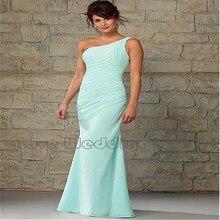 One Shoulder Chiffon Bridesmaid Dresses Mermaid Floor Length Bridesmaid Dress Ruched Pleats Vestido De Festa