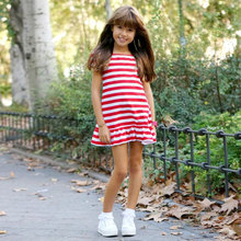 Striped Printed Mini Mom and Kid Dress