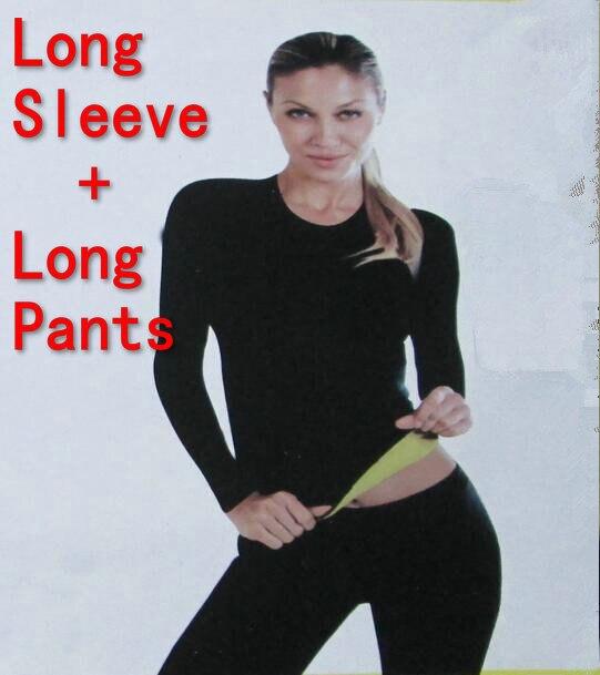 ( С длинным рукавом - + длинные брюки ) горячего тела шейперы футболка управления вершины + стретч неопрена для похудения тело формирователь брюки