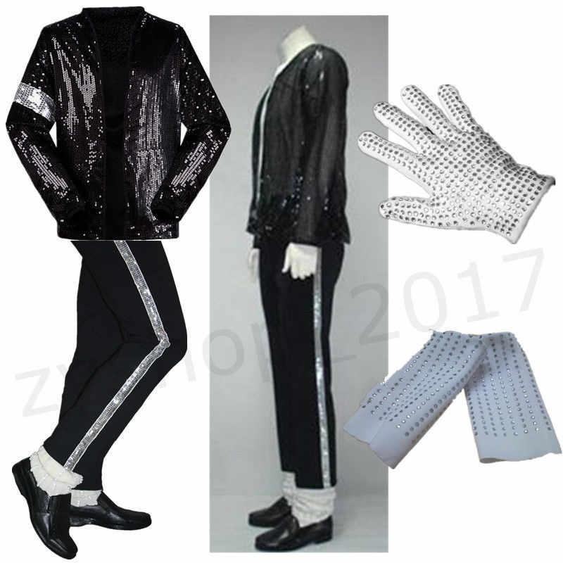Mj Michael Jackson Billie Jean Trajes De Chaqueta Pantalones Guante Calcetines De Los Ninos Adultos Mostrar Negro Con Lentejuelas Elegante 4xs 2xl Gloves Gloves Jacket Jacketpants Pants Aliexpress