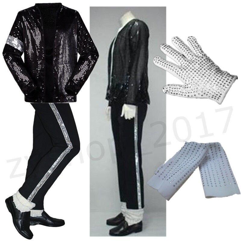 MJ Michael Jackson Billie Jean costumes Sequin veste + pantalon + gant + chaussettes enfants adultes montrent noir pailleté Pacthwork 4XS-2XL