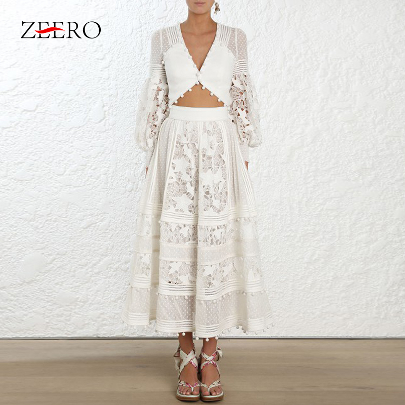 2019 Brand Designer New Spring Autumn Women Lace Dress 2 Piece Set White Crop Top Hollow