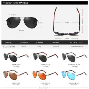 Image 5 - AOWEAR gafas de sol polarizadas para hombre, lentes de sol masculinas con espejo de aluminio HD para conducir, de diseñador de marca, accesorios de aviación