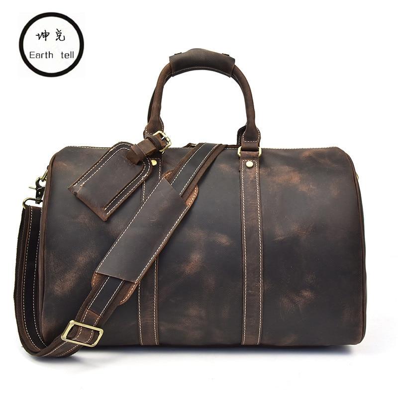 Men Vintage Crazy Horse Genuine Leather Travel Bags Handbags Duffle Cowhide Men's Shoulder Bag Carry on durable Luggage Totes все цены