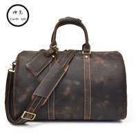 Men Vintage Crazy Horse Genuine Leather Travel Bags Handbags Duffle Cowhide Men's Shoulder Bag Carry on durable Luggage Totes